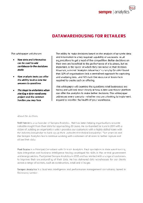 datawarehousing for retailers whitepaper