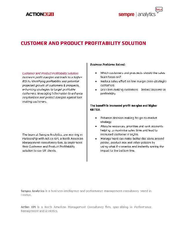 customer and product profitability solution whitepaper