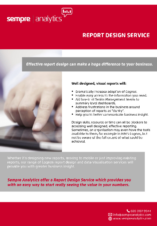 cognos reporting design services